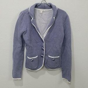 Halogen Casual Blue White Cotton Knit Blazer Sz M